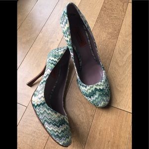 Missoni ZigZag Knit And Leather Pumps Shoes 40M